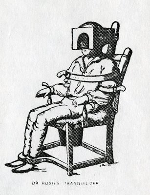Dr Rush's Tranquilizer Chair (engraving) Fine Art Print by American School