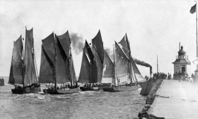 Regatta at Yarmouth (b/w photo) Wall Art & Canvas Prints by English Photographer