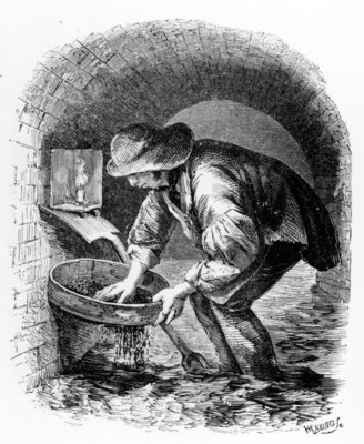 The Sewer-hunter, illustration from 'London Labour and the London Poor' by Henry Mayhew, c.1840s (litho) Fine Art Print by English School