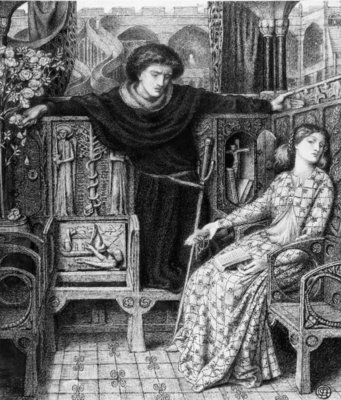 Hamlet and Ophelia, 1858 (pen & ink on paper) Wall Art & Canvas Prints by Dante Gabriel Charles Rossetti