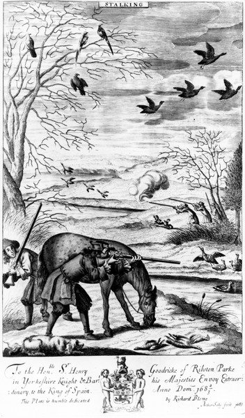 Stalking, from 'The Gentleman's Recreation' published by Richard Blome, 1686 (engraving) Wall Art & Canvas Prints by English School