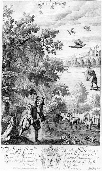 Pearching the Pheasant, from 'The Gentleman's Recreation' published by Richard Blome, 1686 (engraving) Wall Art & Canvas Prints by English School