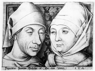 Portrait of Israhel van Meckenem and his wife Ida, c.1490 (engraving) Wall Art & Canvas Prints by Israhel van, the younger Meckenem