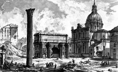 View of the Arch of Septimius Severus and the Church of Santi Luca e Martina, from the 'Views of Rome' series, c.1760 (etching) Fine Art Print by Giovanni Battista Piranesi