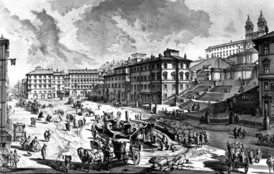 View of the Piazza di Spagna, from the 'Views of Rome' series, c.1760 (etching) Wall Art & Canvas Prints by Giovanni Battista Piranesi
