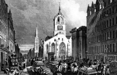 St. Gile's Church, County Hall and the Lawn Market, Edinburgh, engraved by William Tombleson, c.1830 (engraving) Wall Art & Canvas Prints by Thomas Hosmer Shepherd