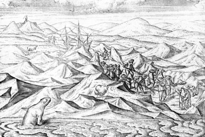 Clearing a path for an ice bound ship, illustration from 'The Three voyages of William Barents to the Arctic Regions', published c.1600 (engraving) Fine Art Print by Dutch School