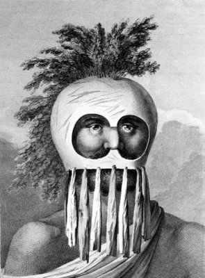 A Man of the Sandwich Islands in a Mask, illustration from 'A Voyage to the Pacific', engraved by Thomas Cook, 1784 (engraving) Wall Art & Canvas Prints by John Webber