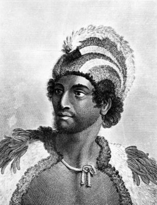 Portrait of Kaneena, a Chief of the Sandwich Islands in the North Pacific Ocean, engraved by Ambrose William Warren (engraving) Wall Art & Canvas Prints by John Webber