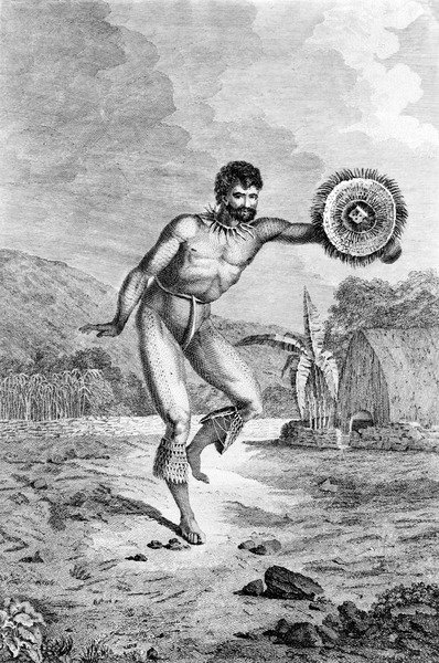A Man of the Sandwich Islands Dancing, engraved by Myers, c.1785 (engraving) Wall Art & Canvas Prints by John Webber