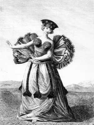 Habit of a Young Woman of Otaheite Dancing, c.1785 (engraving) Wall Art & Canvas Prints by John Webber