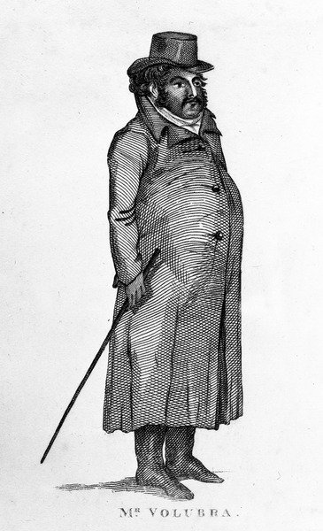 Mr Valobra, illustration from 'The Lives and Portraits of Remarkable Characters' by James Caulfield, published 1819 (engraving) Fine Art Print by English School
