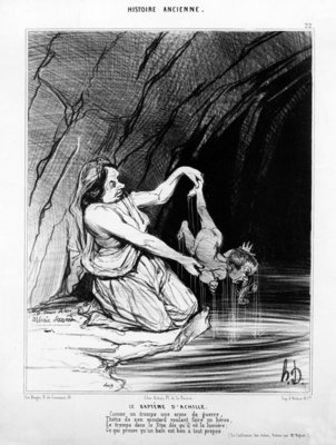 The Baptism of Achilles, published in 'Le Charivari', 28 August, 1842 (litho) Postcards, Greetings Cards, Art Prints, Canvas, Framed Pictures, T-shirts & Wall Art by Honore Daumier