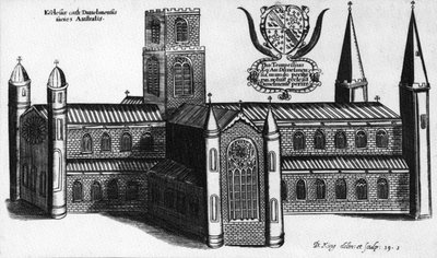 The Southern Exterior of Durham Cathedral,1660 (etching) Wall Art & Canvas Prints by English School