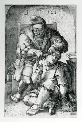 The Surgeon, 1524 (engraving) Postcards, Greetings Cards, Art Prints, Canvas, Framed Pictures, T-shirts & Wall Art by Lucas van Leyden