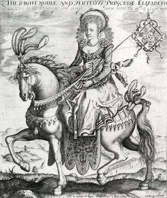 The Right Noble and Verteous Princesse Elizabeth, daughter to our soverainge lord kinge James, 1612-1613 (engraving) Wall Art & Canvas Prints by Renold Elstrack