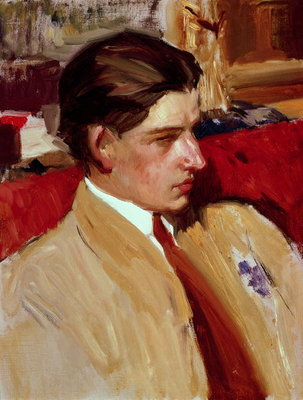 Self portrait in profile Fine Art Print by Joaquin Sorolla y Bastida