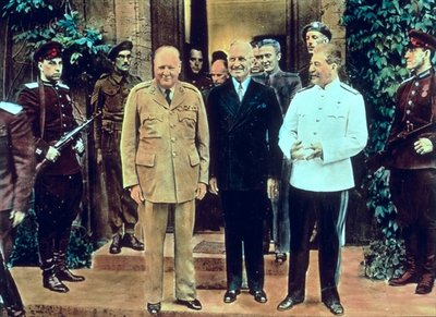 Winston Churchill (1874-1965) President Truman (1884-1972) and Joseph Stalin (1879-1953) at the Potsdam Conference, July 1945 (coloured photo) Fine Art Print by English School