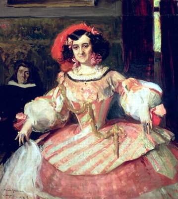 Portrait of Maria Guerrero, actress and director of Teatro Espanol in Madrid, 1906 Fine Art Print by Joaquin Sorolla y Bastida