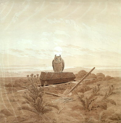 Landscape with Grave, Coffin and Owl (sepia ink and pencil on paper) Fine Art Print by Caspar David Friedrich