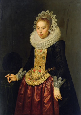 Portrait of a Young Lady, 1622 (oil on oak panel) Postcards, Greetings Cards, Art Prints, Canvas, Framed Pictures & Wall Art by Nicolaes Eliasz