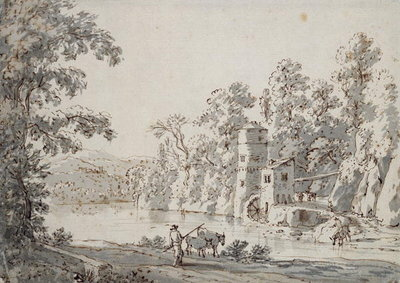 The Watermill by the Ford (pen and brown ink and grey wash on paper) Fine Art Print by Jan Hackaert