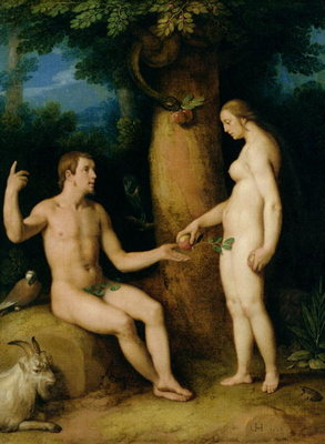 Adam and Eve, 1622 (oil on canvas) Postcards, Greetings Cards, Art Prints, Canvas, Framed Pictures & Wall Art by Cornelis Cornelisz. van Haarlem
