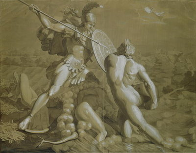 Fight of Achilles with the River Scamander (brown and white wash over pencil on paper) Fine Art Print by Philipp Otto Runge