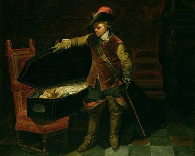 Oliver Cromwell (1599-1658) with the Coffin of Charles I (1600-49) 1846 (oil on canvas) Fine Art Print by Hippolyte Delaroche