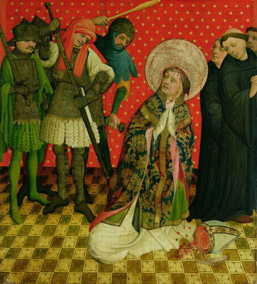 The Martyrdom of St. Thomas of Canterbury, panel from the St. Thomas Altar from St. John's Church, Hamburg, begun in 1424 (tempera & oil on panel) Fine Art Print by Master Francke