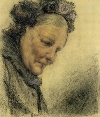 Head of an Old Lady Fine Art Print by Adolph Friedrich Erdmann von Menzel