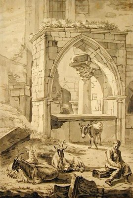 Shepherd with goats and a donkey in front of the ruins, 1693 (pen and grey ink and pencil on paper) Wall Art & Canvas Prints by Willem Romeyn