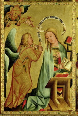 The Annunciation from the High Altar of St. Peter's in Hamburg, the Grabower Altar, 1383 (tempera on panel) Wall Art & Canvas Prints by Master Bertram of Minden
