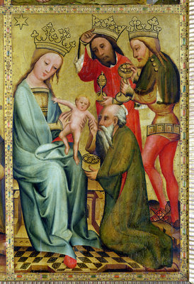 The Adoration of the Magi from the High Altar of St. Peter's in Hamburg, the Grabower Altar, 1383 Fine Art Print by Master Bertram of Minden