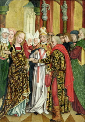 Marriage of the Virgin, from the Dome Altar, 1499 (tempera on panel) Fine Art Print by Absolon Stumme