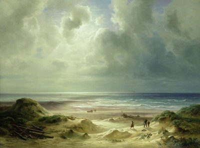 Dune by Hegoland, Tranquil Sea (oil on canvas) Wall Art & Canvas Prints by Carl Morgenstern