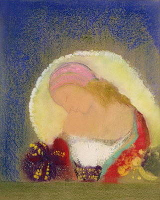 Profile of a Girl with Flowers, c.1900 Fine Art Print by Odilon Redon
