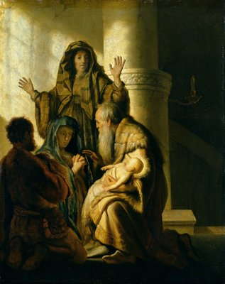 Simeon and Hannah in the Temple, c.1627 (oil on panel) Fine Art Print by Rembrandt Harmensz. van Rijn