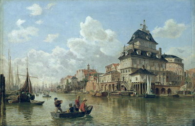 The Boat House at Hamburg Harbour, 1850 (oil on canvas) Wall Art & Canvas Prints by Valentin Ruths