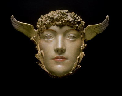 A Mask, c.1897 (plaster) Wall Art & Canvas Prints by Fernand Khnopff
