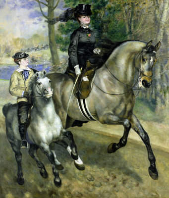 Horsewoman in the Bois de Boulogne, 1873 (oil on canvas) Postcards, Greetings Cards, Art Prints, Canvas, Framed Pictures, T-shirts & Wall Art by Pierre Auguste Renoir