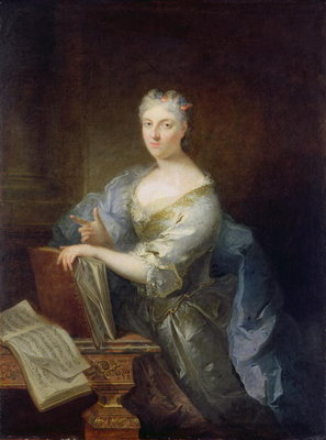 Portrait of the singer Marie-Louise Desmatins (1670-1708) (oil on canvas) Fine Art Print by Robert Tournieres