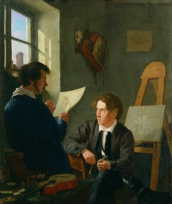 Hermann Kauffmann and Georg Haeselich (1806-94) in Kauffmanns Munich Studio, 1830 (oil on canvas) Fine Art Print by Hermann Kauffmann