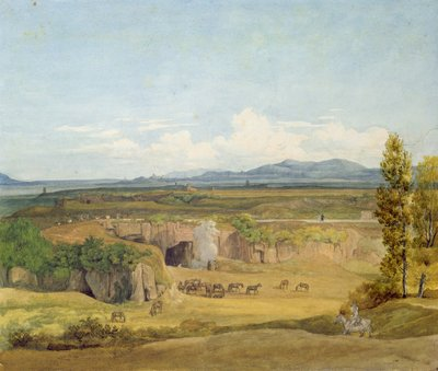 View of the Roman Campagna (w/c on paper) Wall Art & Canvas Prints by Johann Christoph Erhard