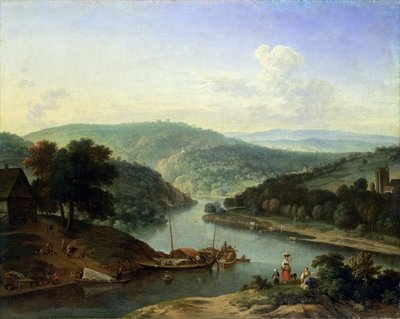 River Landscape, 1697 (oil on canvas) Postcards, Greetings Cards, Art Prints, Canvas, Framed Pictures, T-shirts & Wall Art by Jan van der the Younger Meer