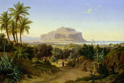 View of Palermo with Mount Pellegrino Fine Art Print by August Wilhelm Julius Ahlborn