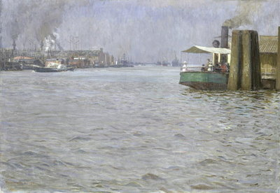 Sunday Atmosphere on the Elbe, St. Paul Landing Bridge, 1901 Fine Art Print by Leopold Karl Walter von Kalckreuth