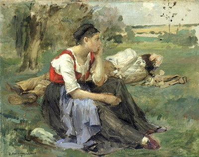 Resting Peasants, 1877 (oil on canvas) Postcards, Greetings Cards, Art Prints, Canvas, Framed Pictures, T-shirts & Wall Art by Jules Bastien-Lepage