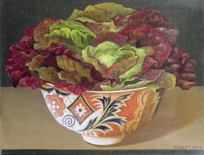 Red Lettuce in Patterned Bowl, 1995 Fine Art Print by Galley