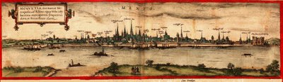 View of Mainz, 1572 (coloured engraving) Fine Art Print by Georg and Hogenberg, Franz Braun